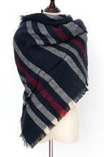 Load image into Gallery viewer, Blue and Red Blanket Scarf by Just Cozy.