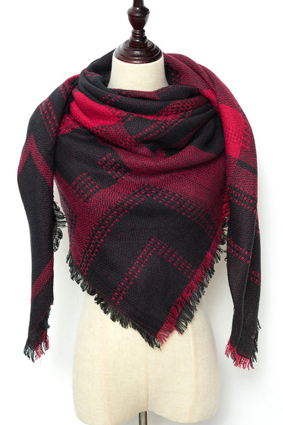 Red and Black Square Scarf by Just Cozy.