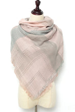 Load image into Gallery viewer, Pink and Grey Square Scarf by Just Cozy.
