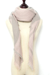 Pink and Grey Square Scarf by Just Cozy.