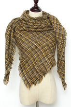 Load image into Gallery viewer, Mustard Yellow Checkered Square Scarf by Just Cozy.