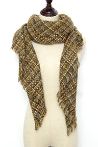 Mustard Yellow Checkered Square Scarf by Just Cozy.