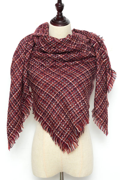 Burgandy Square Scarf by Just Cozy.