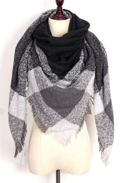 Grey, Black, and White Plaid Blanket Scarf by Just Cozy.