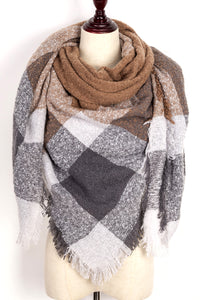 Brown, White, and Grey Plaid Blanket Scarf by Just Cozy.