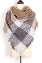 Load image into Gallery viewer, Brown, White, and Grey Plaid Blanket Scarf by Just Cozy.