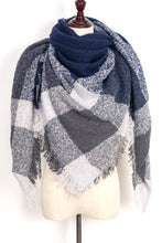 Load image into Gallery viewer,  Grey and Blue Plaid Blanket Scarf by Just Cozy.