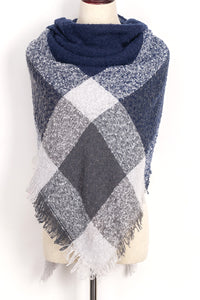 Grey and Blue Plaid Blanket Scarf by Just Cozy.