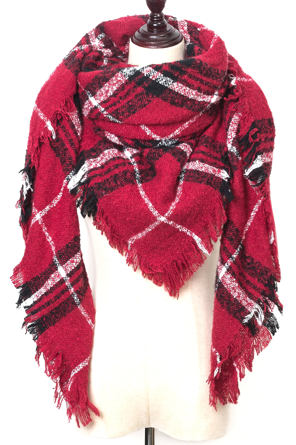 Red Plaid Square scarf by Just Cozy.