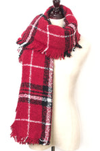 Load image into Gallery viewer, Red Plaid Square scarf by Just Cozy.