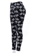 Load image into Gallery viewer, Bicycle Print Fur-lined leggings with 4 way stretch by Just Cozy.