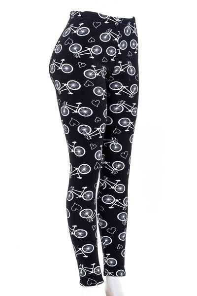 Bicycle Print Fur-lined leggings with 4 way stretch by Just Cozy.