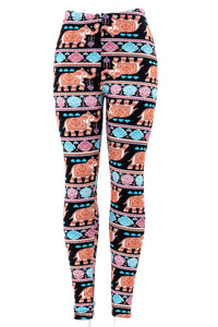 Elephant print fur-lined leggings with 4 way stretch by Just Cozy.
