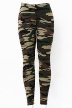 Load image into Gallery viewer, Army Print Fur Lined Leggings by Just Cozy.