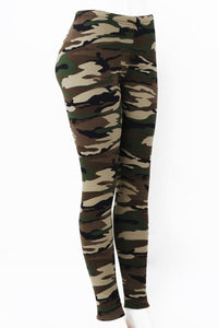 Army Print Fur Lined Leggings by Just Cozy.