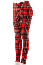 Load image into Gallery viewer, Red and Black Plaid - Fur Lined Leggings