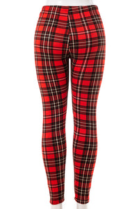 Red and Black Plaid - Fur Lined Leggings