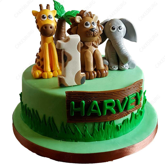 Safari Animals Cake #1
