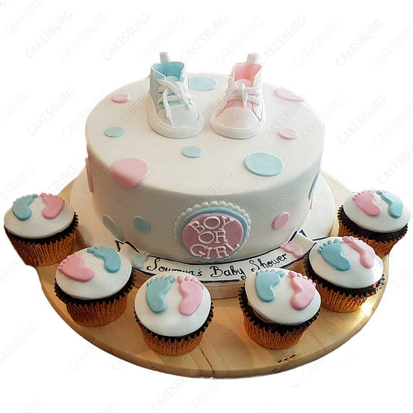 Baby Shoes (Gender Reveal) Cake With 12 Cupcakes