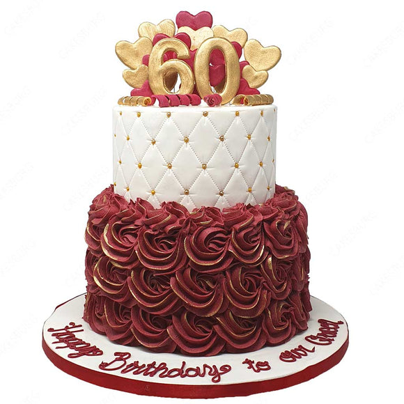 Rosa Special Age Cake - Burgundy/Gold