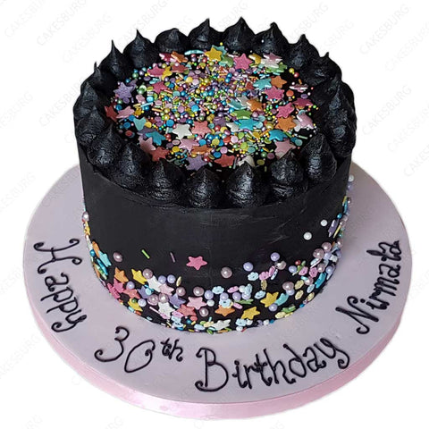 Black Buttercream Cake with Rainbow Sprinkles