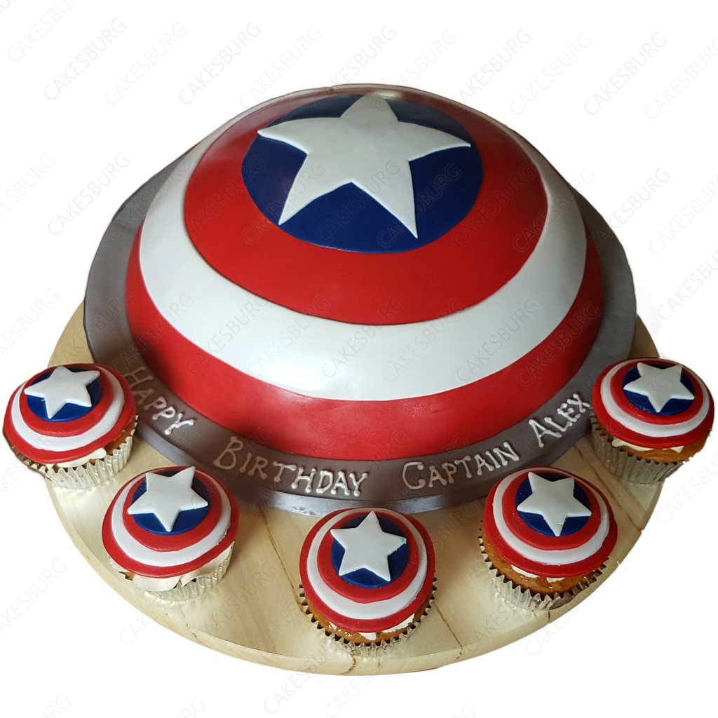 Phenomenal Captain America Shield Cake With 12 Cupcakes Cakesburg Online Funny Birthday Cards Online Elaedamsfinfo