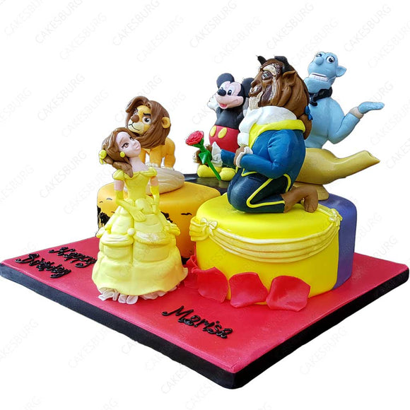 Disney Characters Number Cake