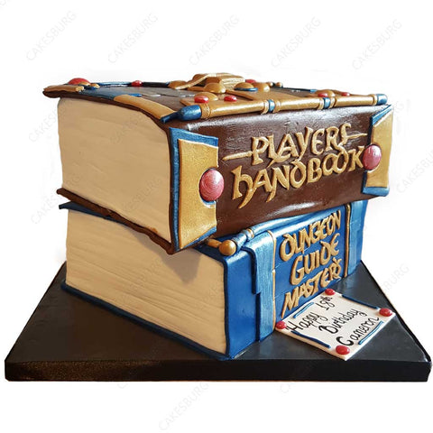 Stack of Books Dungeons and Dragons Cake