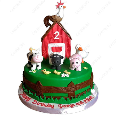 Farm Animals Cake (extra figurines)