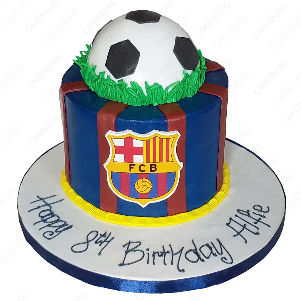 Magnificent Fc Barcelona Football Cake Cakesburg Online Premium Cake Shop Personalised Birthday Cards Paralily Jamesorg