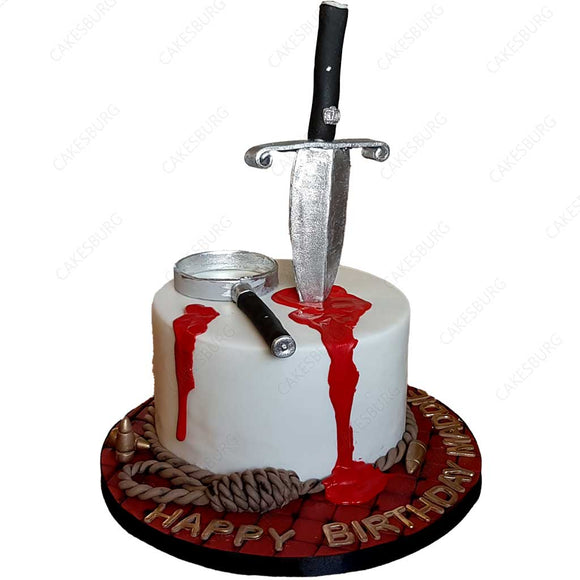 Bloody Knife Mystery Cake