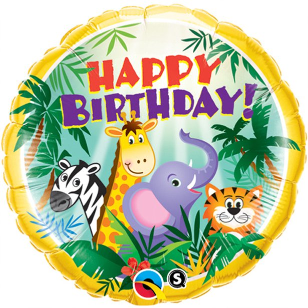 "18"" Jungle Friends Birthday Foil Balloon (HELIUM FILLED)"