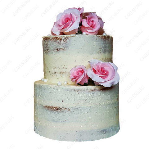 Rosa Pink Naked Wedding Cake