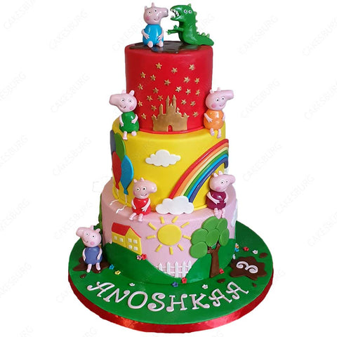 George & Mr. Dinosaur Peppa Pig Cake
