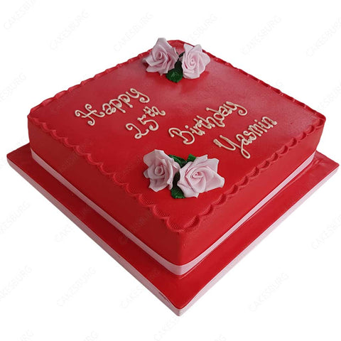Plain Rose Message Cake #4