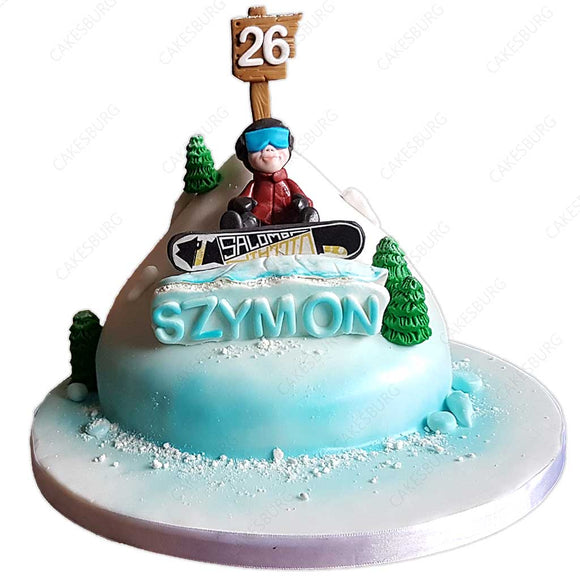 Snow Board Skiing Cake