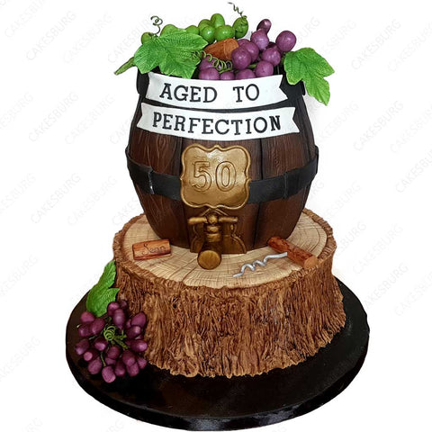 Aged to Perfection Wine Barrel On The Log Cake