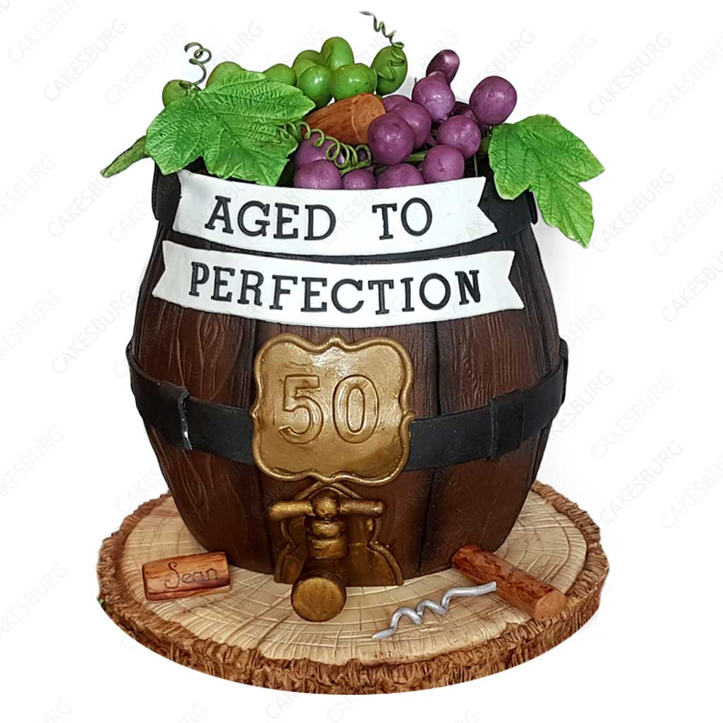 Age To Perfection Wine Barrel Cake Cakesburg