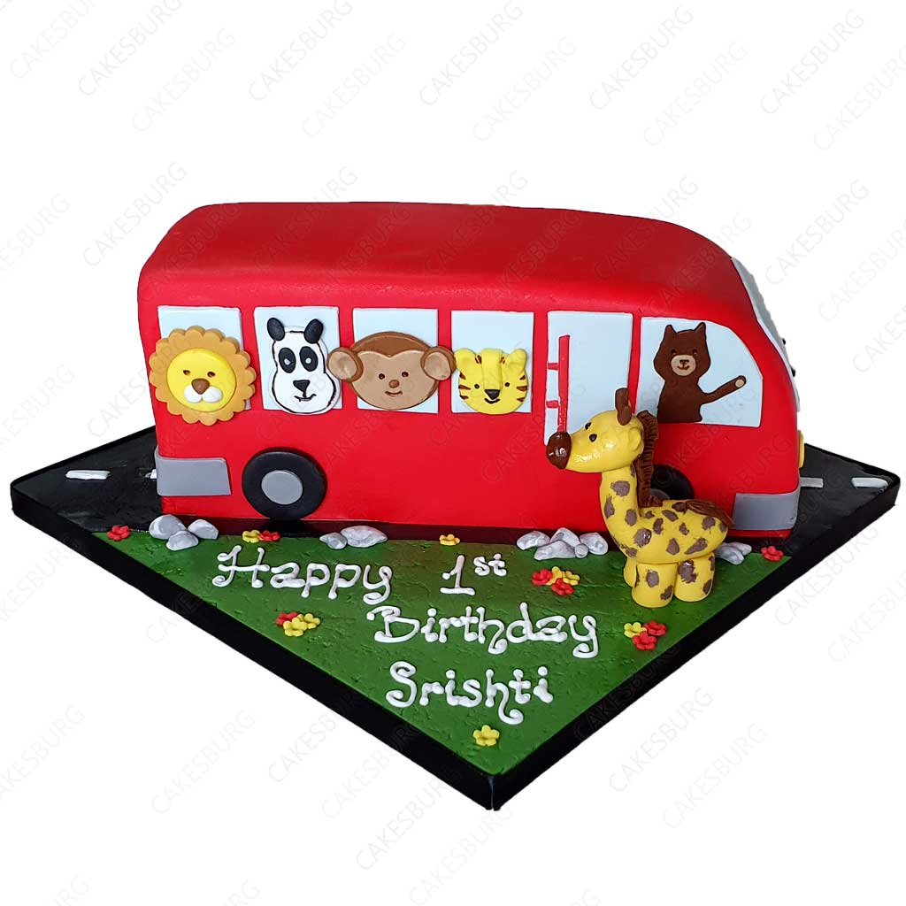 Admirable Animals School Bus Cake Cakesburg Online Premium Cake Shop Personalised Birthday Cards Cominlily Jamesorg