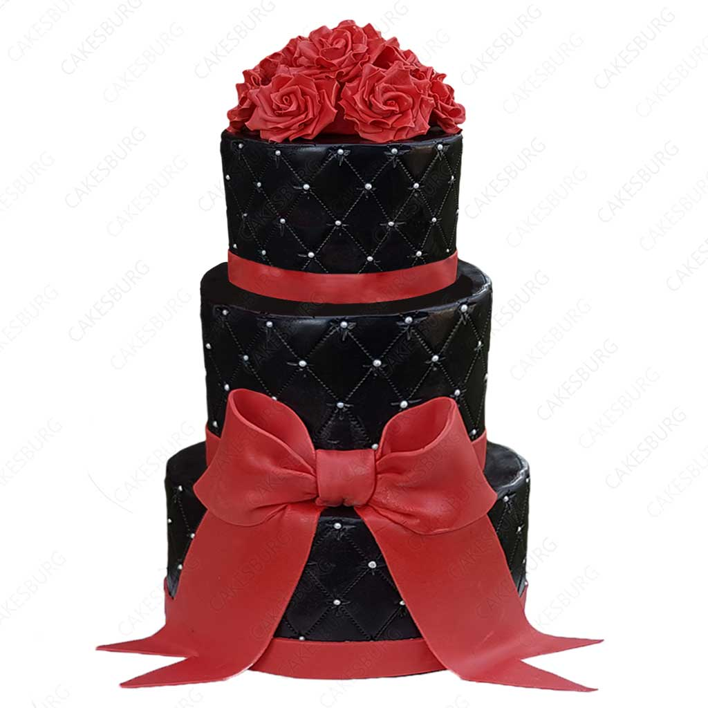 Awesome Elegant Black And Red Ribbon Cake Cakesburg Online Premium Cake Shop Funny Birthday Cards Online Inifodamsfinfo