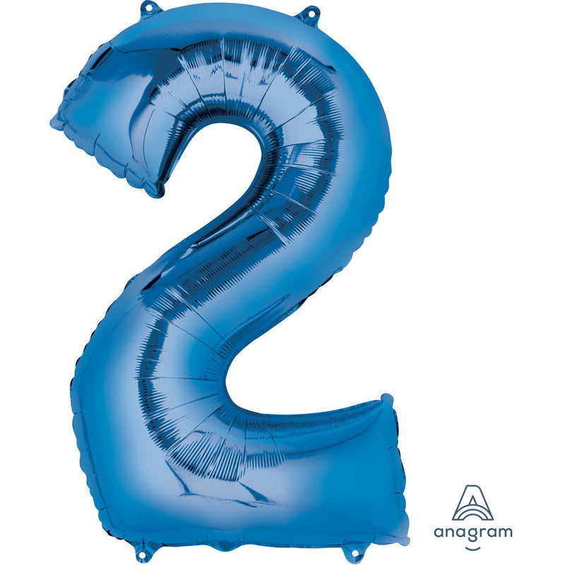 "34"" Blue - Number 2 - Foil Balloon (HELIUM FILLED)"