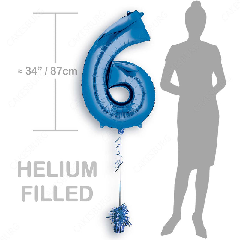 "34"" Blue - Number 6 - Foil Balloon (HELIUM FILLED)"