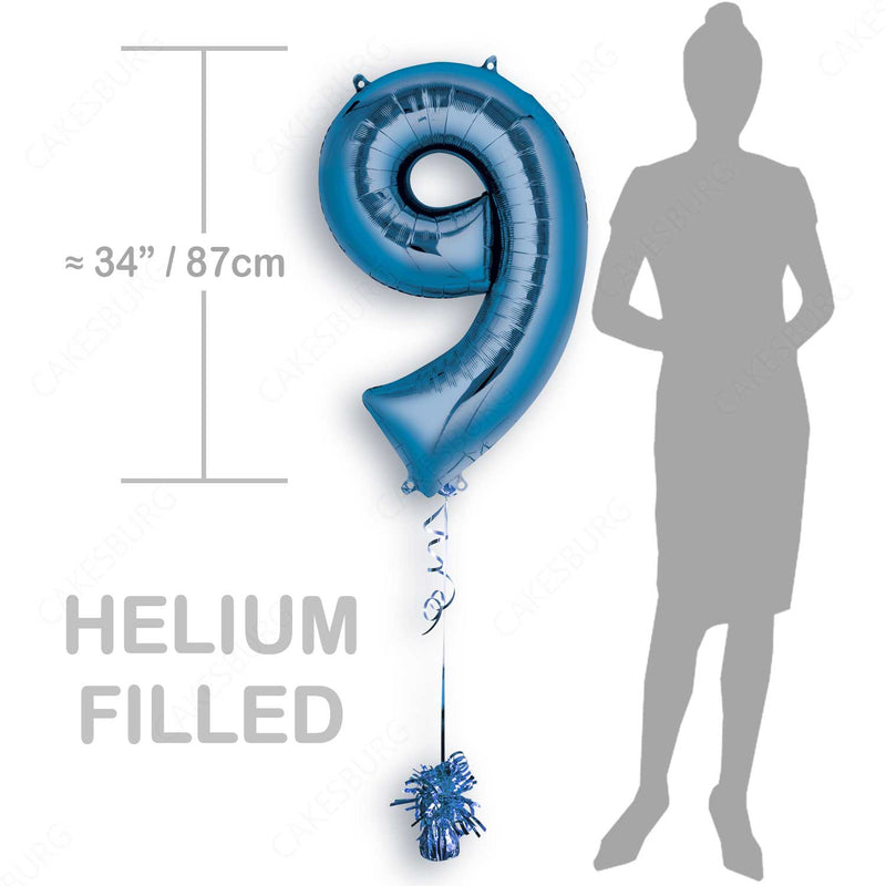 "34"" Blue - Number 9 - Foil Balloon (HELIUM FILLED)"
