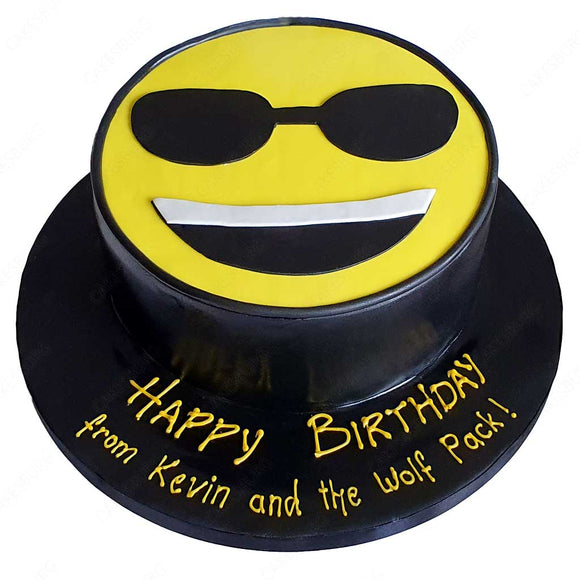 cool sunglasses emoji cake