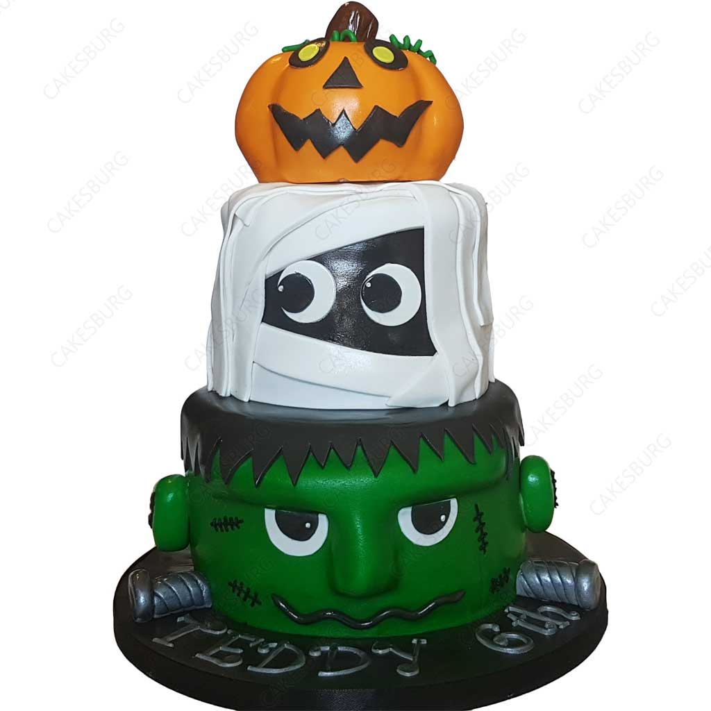 Enjoyable Frankenstein Mummy Pumpkin Cake Cakesburg Online Premium Cake Shop Personalised Birthday Cards Beptaeletsinfo