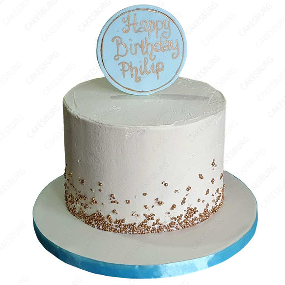 Buttercream Golden Sprinkles Cake (Blue)