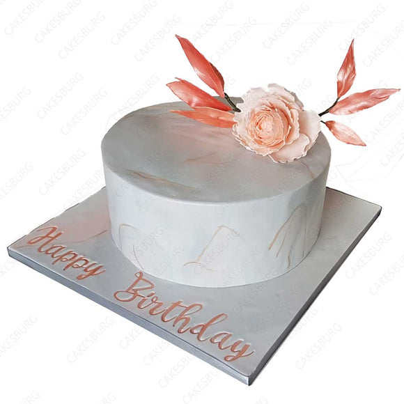 Luxury Marble Effect Pelony Cake