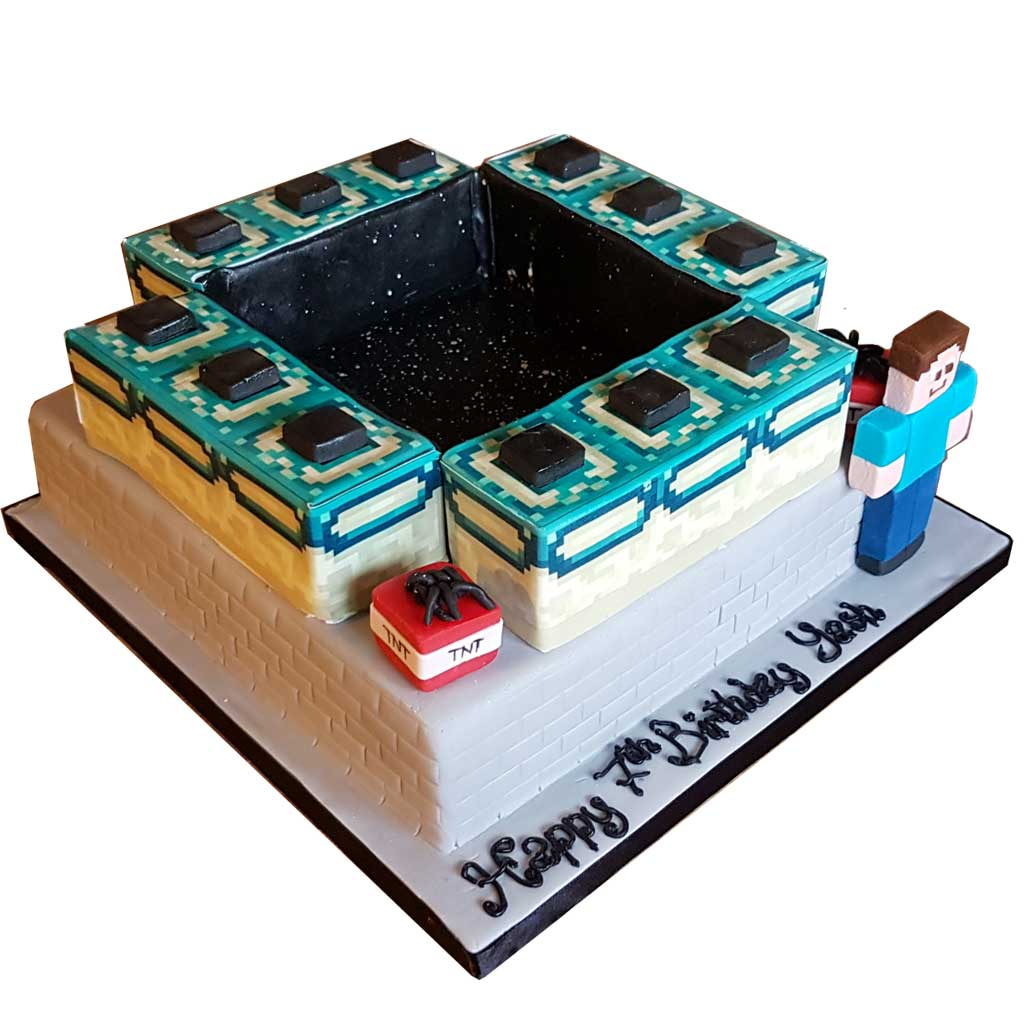 Astounding Minecraft End Portal Cake Cakesburg Online Premium Cake Shop Personalised Birthday Cards Veneteletsinfo