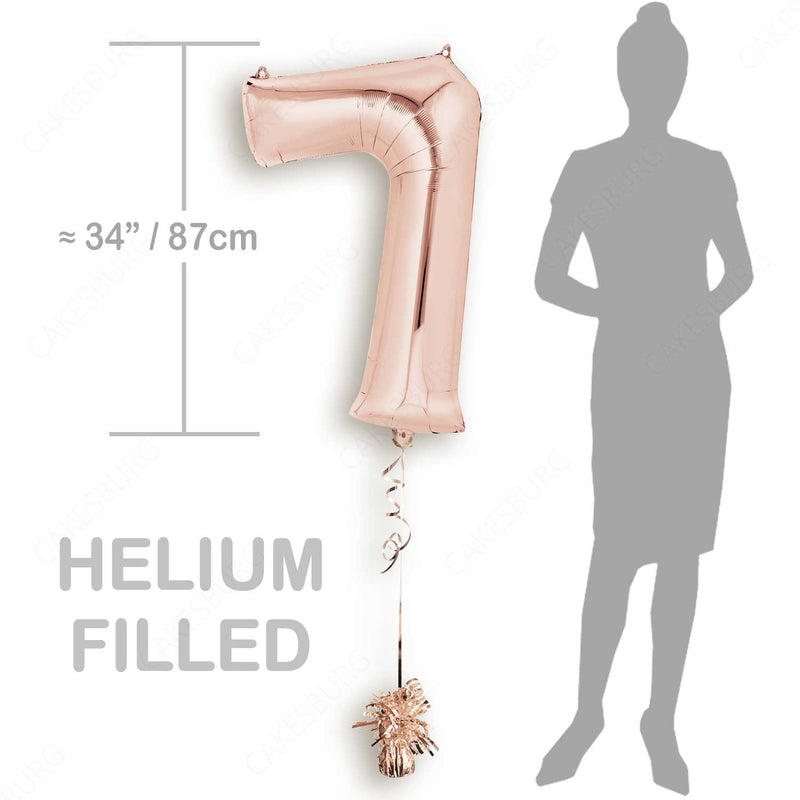 "34"" Rose Gold - Number 7 - Foil Balloon (HELIUM FILLED)"