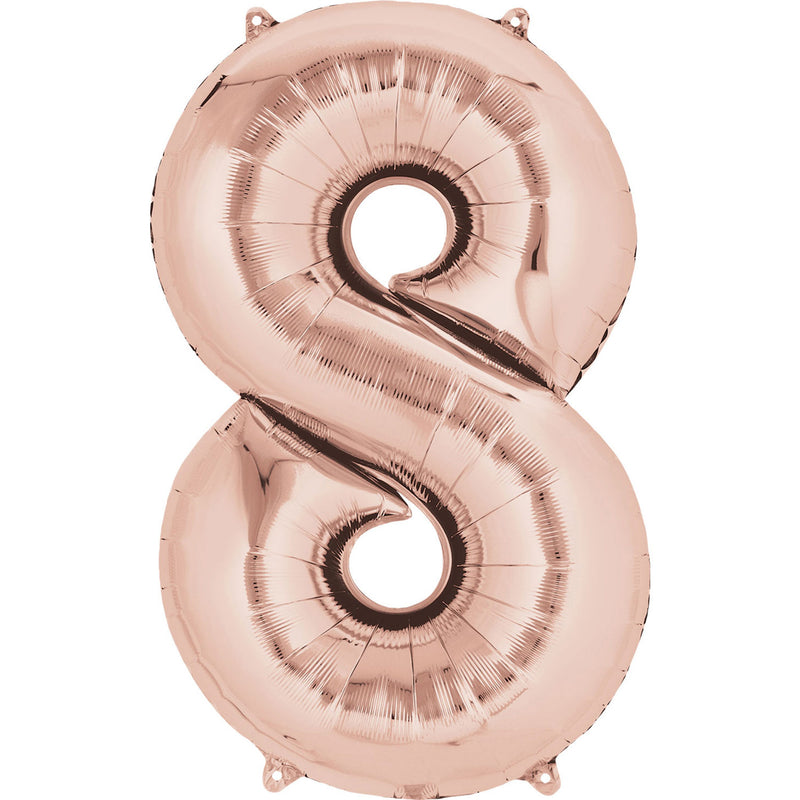 "34"" Rose Gold - Number 8 - Foil Balloon (HELIUM FILLED)"